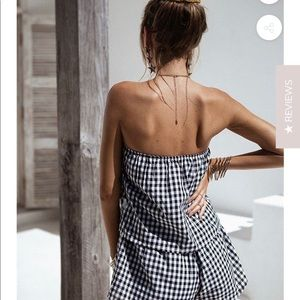 Goodnight Macaroon Gingham Romper NWT